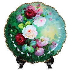 17.25'' huge museum quality Limoges France hand-painted roses tray/ plaque, artist signed