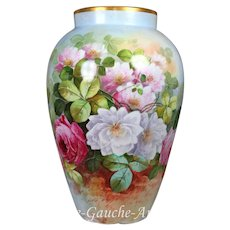 "16'' tall rare and huge Limoges France hand-painted vase decorated the roses, artist signed ""A. Luc"", ca 1900-1914"
