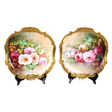 Ornate pair of 12.5'' Museum quality Limoges France chargers/ plats/ plaques with hand-painted roses, heavy gold border, 1900-1932