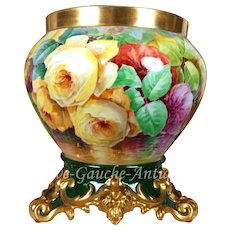"12.2'' tall Huge Limoges France Jardiniere/cache-pot with hand painted colorful roses on separate base, with heavy gold to the top and base, artist signed "" D. Grop"", T & V 1892-1907"