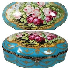 "13"" French Limoges large hand-painted box/ jewelry casket scenic roses, raised gold gilt, Artist signed ""RIBES"""