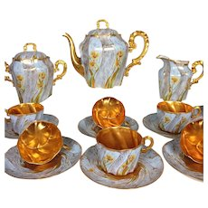 Antique French Limoges Hand-painted Tea Set of 17 pieces, heavy gold decoration, ca 1900s
