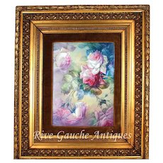 "Museum Quality Masterpiece Limoges France Stunning plaque/ painting on porcelain of still life hand-painted roses, with antique Barbizon golden frame, artist signed ""A. BERTHAUD"", T&V circa 1892 - 1907."