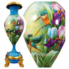 "Limoges France Huge Spectacular Bolted Vase/ Urn with hand-painted birds and iris, artiste signed ""E. LAMOUR"", 1920s-1930s"