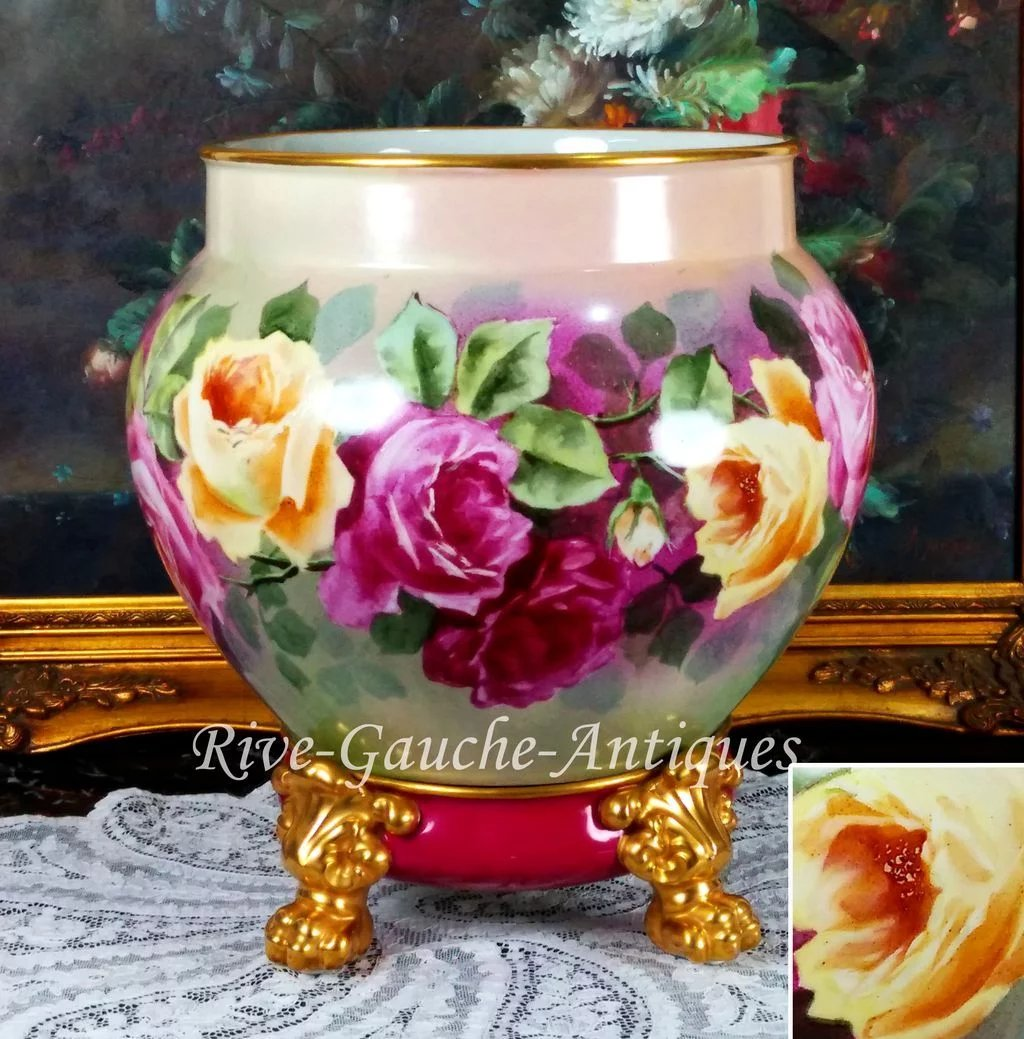 14 tall huge limoges france jardiniere cache pot with for Jardinier 78
