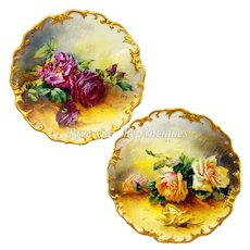"Ornate pair of 13.5'' Limoges France chargers/ plats/ plaques with realistical hand-painted roses, heavy gold border, signed by master artist ""Golse"", after 1891"