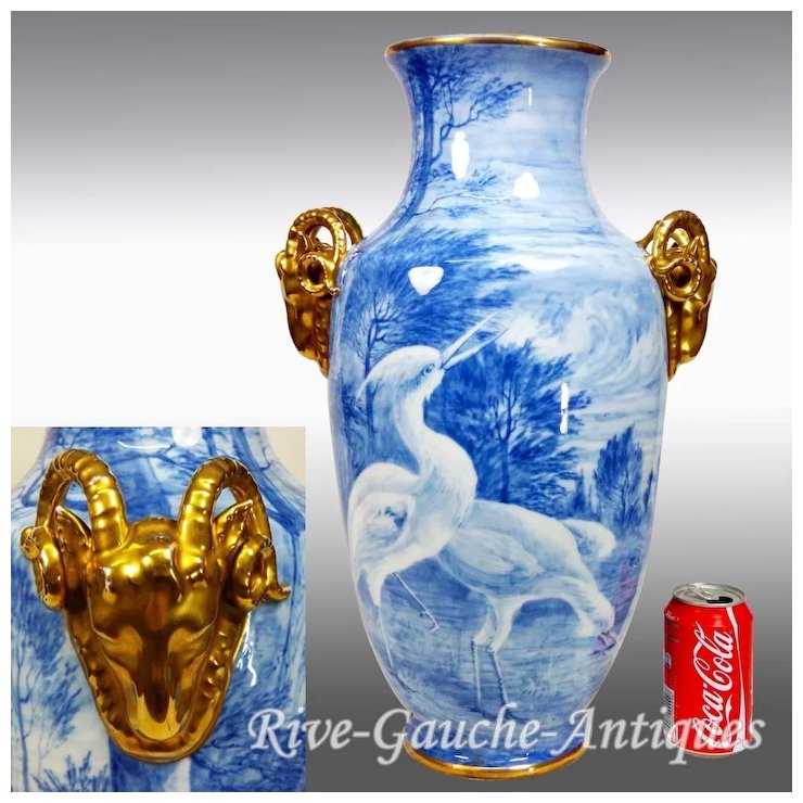 20 Tall Huge Limoges France Vase With The Gold Goat Head Handle