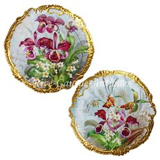 "Pair 17.5'' Antique hand-painted Limoges France trays/ wall plaques, ornate gold Rococo Border, artist signed ""Jenan"""