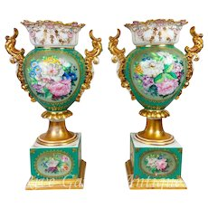 "Pair of 18.5"" tall Old Paris Porcelain vases with the hand-painted roses and birds ~ Museum Quality Masterpiece, 1870s"