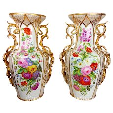 "Pair of 20"" tall Old Paris Porcelain vases with hand-painted roses and flowers ~ Museum Quality Masterpiece, 1850s"