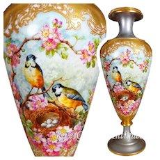 Limoges Incredible porcelain Platinum-Ground Vase with Intricate Gold Details, Signed Highly Regarded Artist J.Golse, 1882-1890
