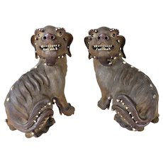 A Pair of Chinese Shiwan Pottery Sculpture, Lions of FO (Fu Dogs) (male and female), Qing Dynasty, late 19th century