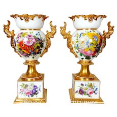 "Pair of 18"" tall Old Paris Porcelain vases with hand-painted roses and flowers ~ Museum Quality Masterpiece, 1850s"