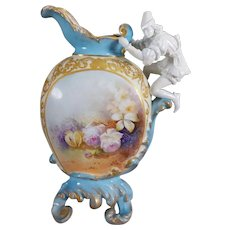Limoges Rare Figural Handled Ornate Vase/Ewer with hand-painted roses and heavy raised gold gilt, 1890 to 1932