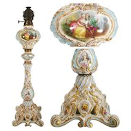 "28.35"" tall large and rare hand painted French porcelain Lamp, late19th to early 20th Century."