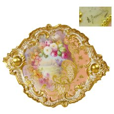"15.5"" Large ""A. Bronssillon"" signed, Exquisite Limoges Rococo Charger/Plaque with Gold Border and Handles, and a Central Cartouche of Gorgeous Hand-painted Roses, 1922-1938"