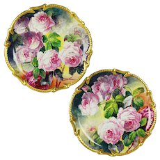 "Rare pair of 16.2"" large Limoges France  hand-painted roses platters/ trays/ wall plaques, ornate gold Border, artist signed ""F.CHALARD/ LIMOGES"", 1920s"