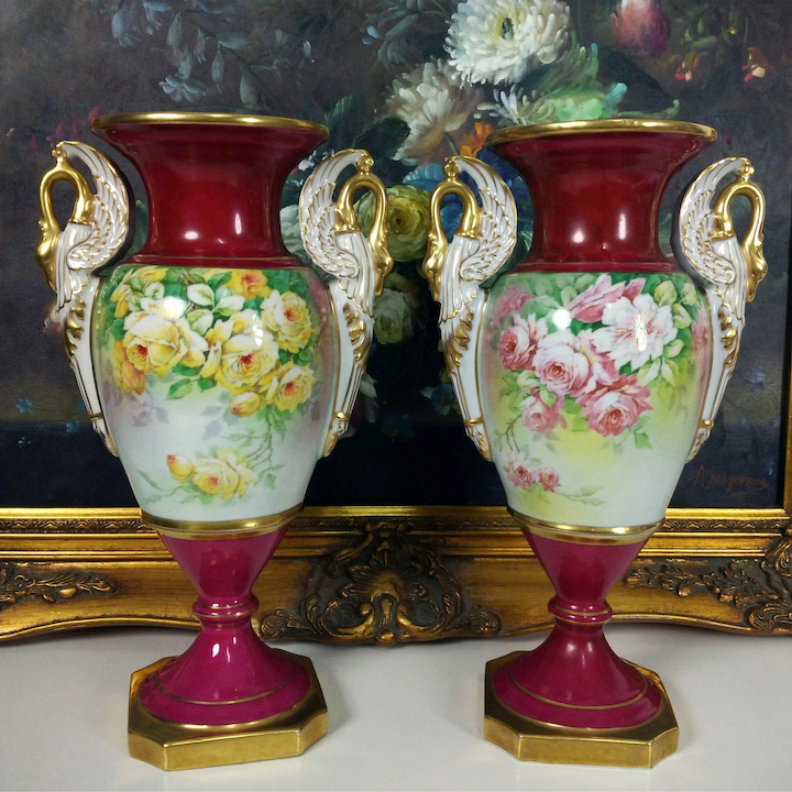 Pair Of Limoges France Antiques Hand