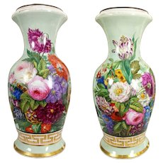 "21"" tall huge Exquisite Old Paris Porcelain French hand-painted flowers Vase/ Lamp ~ Museum Quality painting~ 1880s"