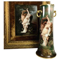 "Museum quality 15"" tall Limoges France Hand Painted Twisted Handle Vase, ""Nymph removed by a fauna"" after Cabanel Alexandre, artist signed, 1900-1920"