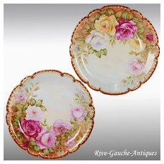 """13.4"""" large Pair of Limoges France hand-painted rose chargers with white enamel, artist signed, 1910"""