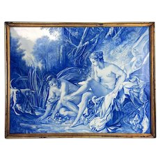 "Large France hand-painted wall plaque/ painting on porcelain framed, ""Diana leaving her Bath"" after François Boucher, 1890s-1910s"