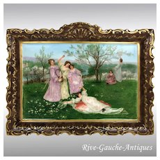 """13.75"""" long Limoges France Hand Painted wall plaque/ plate, artist signed, 1891-1914"""