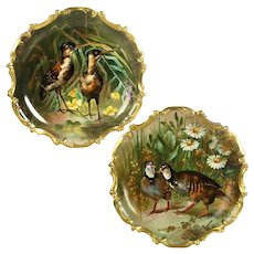 "15.55"" large Pair of Limoges France Tray/ Wall Plaque with hand painted birds, artist signed, ca 1890s-1920s"
