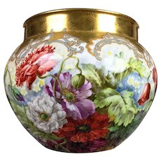 "Large Limoges France hand-painted Jardiniere with colorful flowers with raised gilt decoration, artist signed ""J. GOLSE"". 1900-1932"