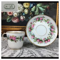 1858 Antique French  SEVRES Porcelain hand-painted Cup and Saucer