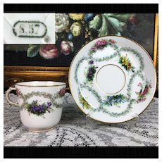 1857 Antique French SEVRES Porcelain hand-painted Cup and Saucer