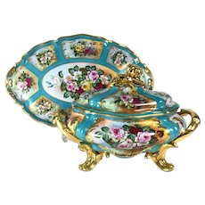 "Rare and huge Limoges France Covered Tureen and Platter/ Tray with hand painted flowers, signed ""RIBES"""