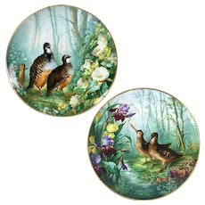 "1876-1886 Pair of 15.55"" large Limoges France Tray/ Wall Plaque with hand-painted birds and flowers"