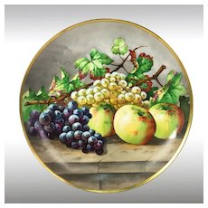 "13.6'' Limoges France chargers/ plates with the hand-painted fruits, artist signed ""Baumy"", 1903-1917"