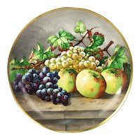 """13.6'' Limoges France chargers/ plates with the hand-painted fruits, artist signed """"Baumy"""", 1903-1917"""