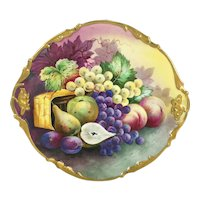 """13.75"""" long Limoges France charger with the hand-painted fruits, ca 1890 to 1932"""