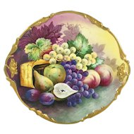 "13.75"" long Limoges France charger with the hand-painted fruits, ca 1890 to 1932"