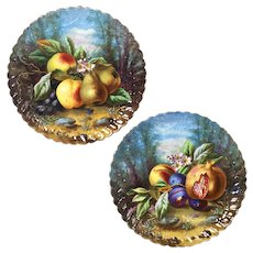 "pair of 13.6'' Large Limoges France chargers/ plates with the hand-painted fruits, artist signed ""Ch. Thuillier"", 1900s- 1920s"