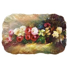 "20"" long huge Limoges hand painted tray/ platter with the roses, artist signed ""Sinon"", 1891-1896"