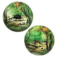 "1876-1886 Pair of 15.75"" large Limoges Haviland France Hand-painted Tray/ Wall Plaque with hunting scene"