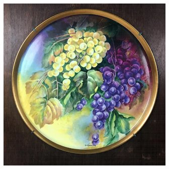 """13.75"""" large Limoges France hand-painted grapes charger & wooden frame, artist signed """"SARLANGEAS"""", after 1891"""