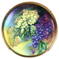 "13.75"" large Limoges France hand-painted grapes charger & wooden frame, artist signed ""SARLANGEAS"", after 1891"