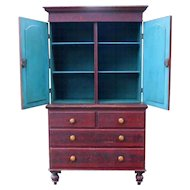 Spectacular 19th Century Country Red Grain Painted Pine Stepback Cupboard Linen Press Cabinet