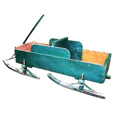 Early 1900s Antique Country Pine Childrens Christmas Sleigh Wagon Bob Sled Garden Planter Flower Cart Porch Display