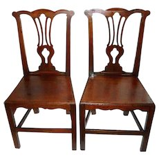 18th Century English Provincial Equestrian Chippendale Hearth Hall Chairs