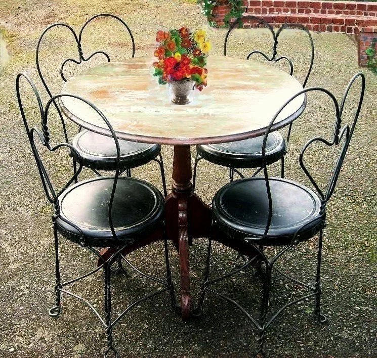 Patio Furniture Southern New Jersey: Vintage Early 1900's Bistro Set French Country Cafe