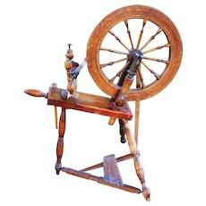 19th Century Farmhouse Antique Early 1800s Rare 12 Spoke Red Oak Flax Yarn Spinning Wheel