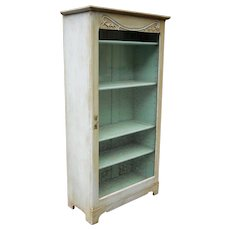 French Country Rustic Antique 1870s Painted Aqua Pine Oak Curio Cupboard Display Cabinet