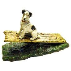 Antique Dog Figural Terrier Victorian Desktop Letter Clip Paper Note Holder