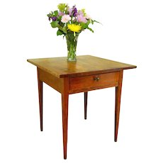 Antique 19th Century Federal New England Primitive Tavern One Plank Table Stand